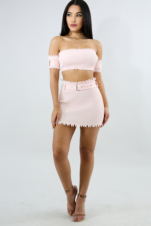 Shreds Knit Skirt Set