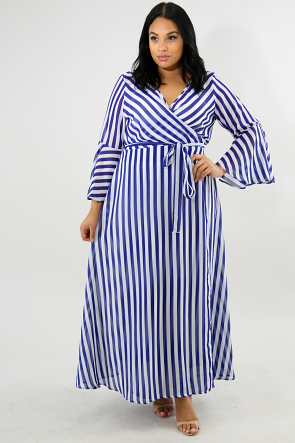 Striped Sheer Wrap Maxi Dress