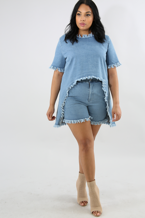 Distressed High Waisted Shorts Set