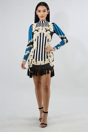 Pearl Tassel Stripe Body-Con Dress