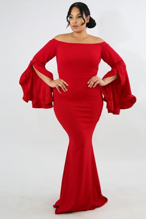 Filigree Pleated Maxi Dress