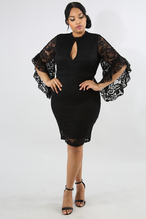 Lace Flare Bells Body-Con Dress