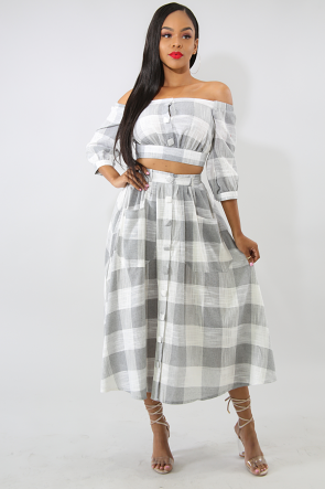 Plaid Button Skirt Set