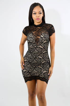Sweet V-Lace Body-Con Dress