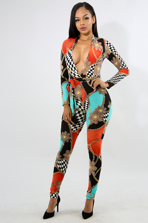 Checkerboard Chains Jumpsuit