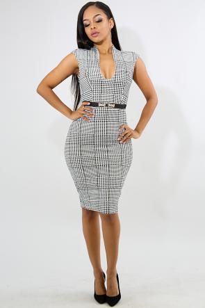 Houndstooth Elegance Body-Con Dress