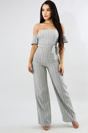 Rustic Stripes Palazzo Jumpsuit