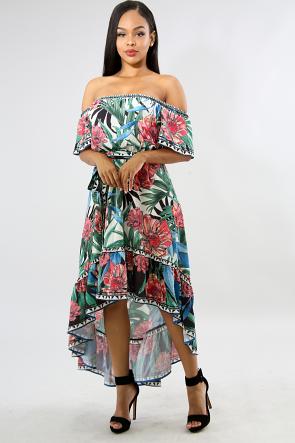 Floral Forest Flare Dress