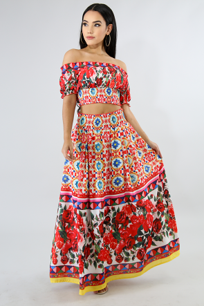 Maxi Floral Accordion Skirt Set