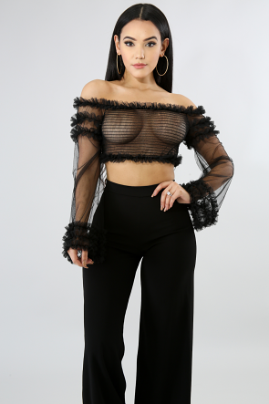 Accordion Tulle Crop Top