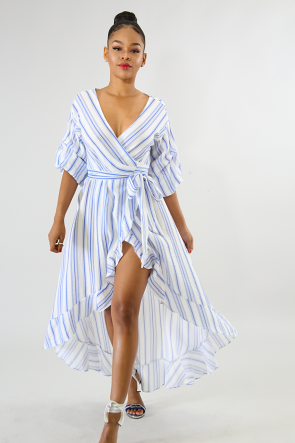 Wrap Tie Stripe Flare Dress