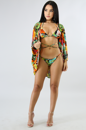 Exotic Tropical Floral Swim Set
