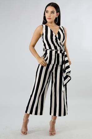 Wrap Stripe Jumpsuit