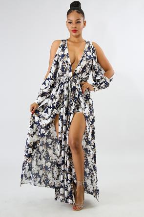 Floral Maxi Double Slide Dress