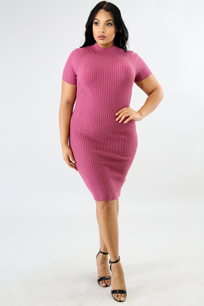 Hour Glass Trim Knit Body-Con Dress