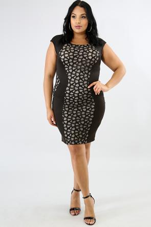 Lace Figure Trim Body-Con Dress