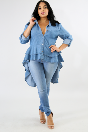 Denim Ruffled Long Tail Top
