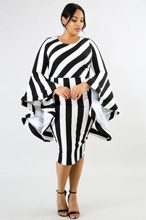Bell Flare Stripe Body-Con Dress