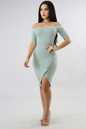 Button Slit Body-Con Dress