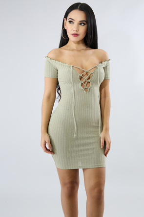 Rib Knit Corset Body-Con Dress