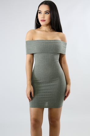 Corset Back Rib Knit Body-Con Dress