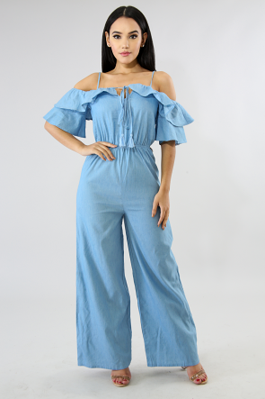 Palazzo Ruffled Bell Jumpsuit