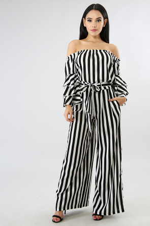 Striped Off Shoulder Palazzo Set
