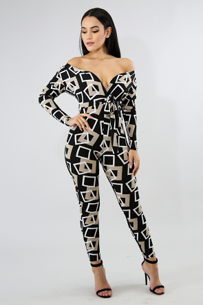 Square Long Sleeve Jumpsuit