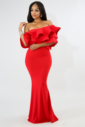 Ruffle Off Shoulder Sleeve Maxi  Dress