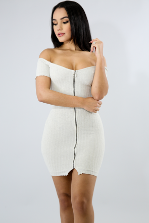 Zip Knit Body-Con Dress