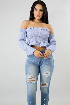 Pinstripe Off Shoulder Crop Top