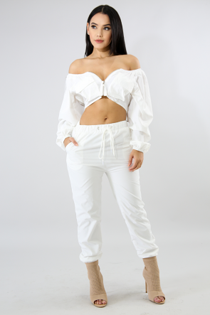 Off Shoulder Boxy Pant Set