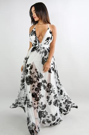 Floral Sheer Mesh Maxi dress