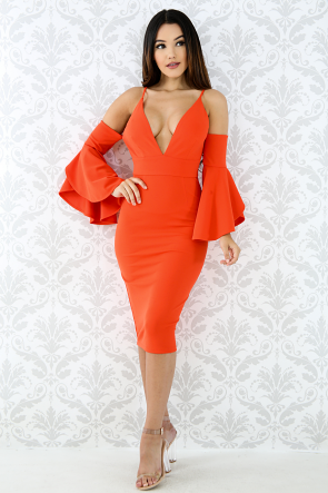 Bell Sleeves Body-Con Dress