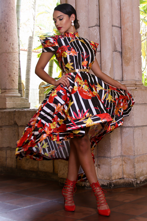 Floral Flame Long Tail Dress