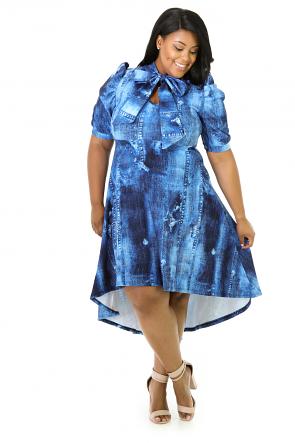 Sky Blue Stretchy Flare Dress