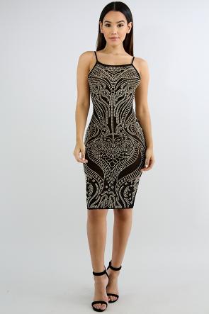 Ace Of Hearts Rhinestone Body-Con Dress