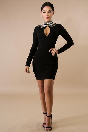 Crystal Embellished Long Sleeve Dress