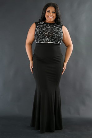 Mermaid Stud Maxi Dress