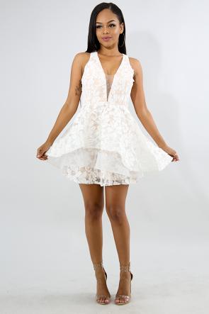Lace Floral Mini Flare Dress