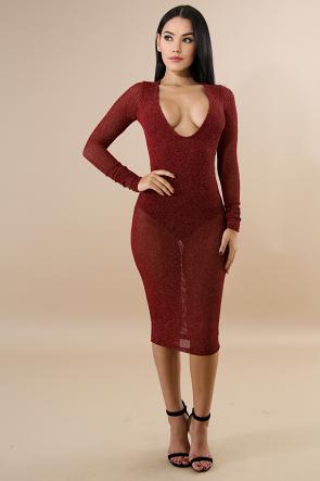 Long Sleeve Decent Midi Dress Bodysuit