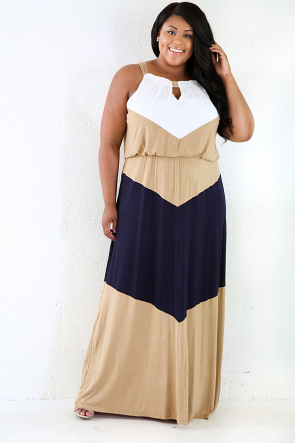 Triple Color Stretchy Maxi Dress