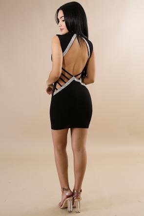 Rhinestone Sexy Open Back Midi Dress
