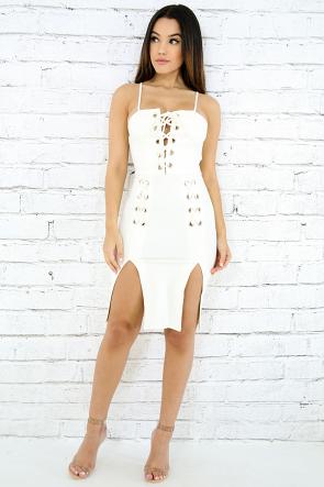 Eyelet Tube Slit Body-Con Dress