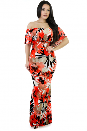 Orange Blossom Off-Shoulder Maxi Dress
