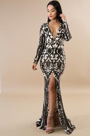 Queen Sequin Maxi Mermaid Dress