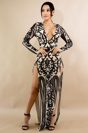 Sequin Slit Maxi Dress
