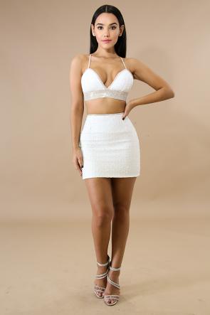 Rhinestone Sequin Skirt Set