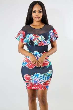 Rosa Flower Midi Dress