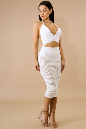 Striped Sheer Cut Out Body-Con Dress
